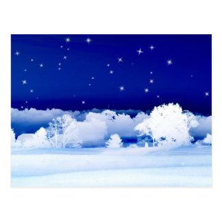 Snowy night postcard