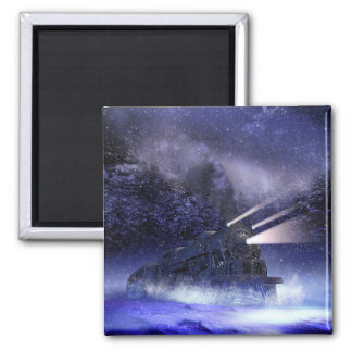 Snowy Night Train Square Magnet