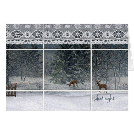 snowy night trees and deer looking through window card