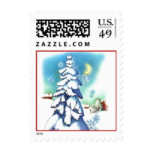 Snowy Night Vintage Christmas Postage Stamp
