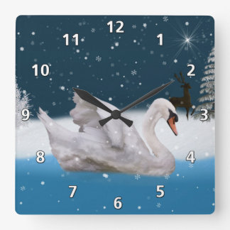 Snowy Night with A Swan on a Lake Square Wall Clock