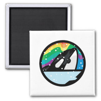 snowy orca circle design 2 inch square magnet