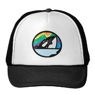 snowy orca circle design trucker hats