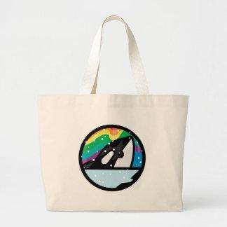 snowy orca circle design jumbo tote bag