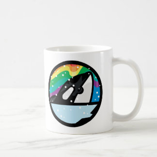 snowy orca circle design classic white coffee mug