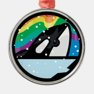 snowy orca circle design round metal christmas ornament