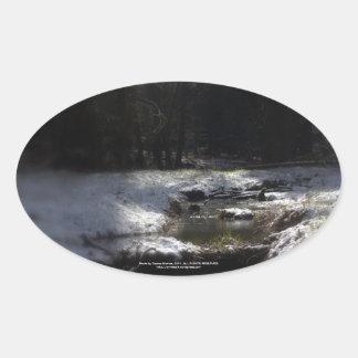 Snowy Oregon Forest, Fox Creek 12 Oval Sticker