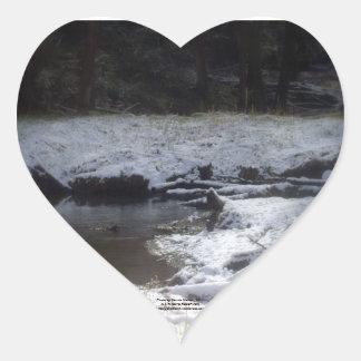 Snowy Oregon Forest, Fox Creek 2 Heart Sticker