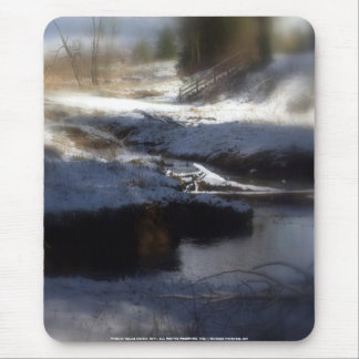 Snowy Oregon Forest, fox creek 4 Mouse Pad