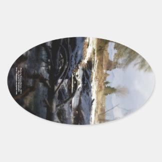 Snowy Oregon Forest, fox creek 6 Oval Sticker