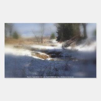 Snowy Oregon Forest, Fox Creek 7 Rectangular Sticker