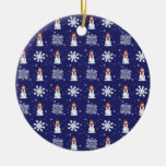 Snowy Double-Sided Ceramic Round Christmas Ornament