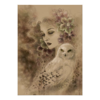 Snowy Owl and Christmas Rose Fantasy Art Poster