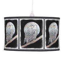 Snowy Owl and Moon Ceiling Lamp