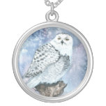 Snowy Owl Art Sterling Pendant Necklace
