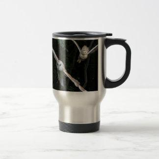 Snowy Owl & Barn Owl in Flight Travel Mug
