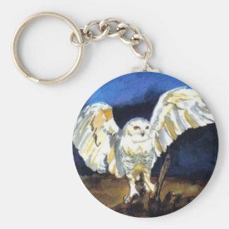 Snowy Owl by Paula Atwell Keychain