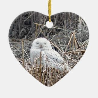 snowy owl ceramic ornament