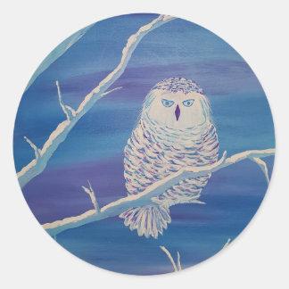 Snowy Owl Classic Round Sticker