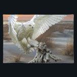 "Snowy Owl Cloth Placemat<br><div class=""desc"">Snowy Owl Hunts on the Lakeshore</div>"
