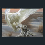 "Snowy Owl Cloth Placemat<br><div class=""desc"">Snowy Owl Hunts on the Lakeshore</div>"