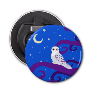 Snowy Owl Crescent Moon Night Forest Art Bottle Opener