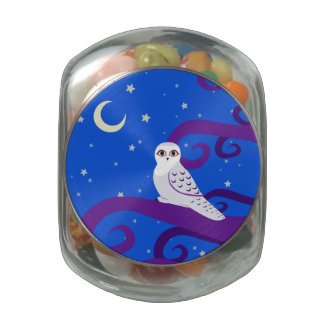 Snowy Owl Crescent Moon Night Forest Art Jelly Belly Candy Jars