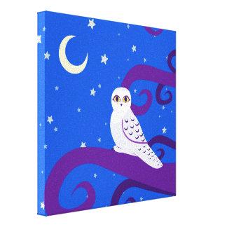 Snowy Owl Crescent Moon Night Forest Art Canvas Print