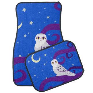 Snowy Owl Crescent Moon Night Forest Art Car Floor Mat