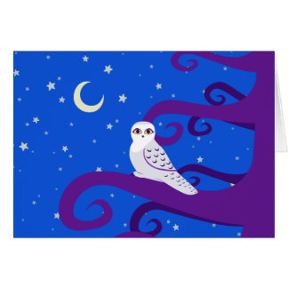 Snowy Owl Crescent Moon Night Forest Art Greeting Cards