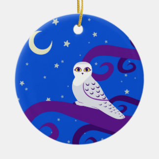 Snowy Owl Crescent Moon Night Forest Art Ceramic Ornament