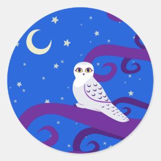 Snowy Owl Crescent Moon Night Forest Art Classic Round Sticker