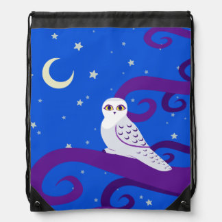 Snowy Owl Crescent Moon Night Forest Art Drawstring Backpack