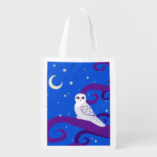Snowy Owl Crescent Moon Night Forest Art Grocery Bags