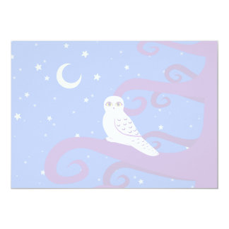 Snowy Owl Crescent Moon Night Forest Art Personalized Announcement