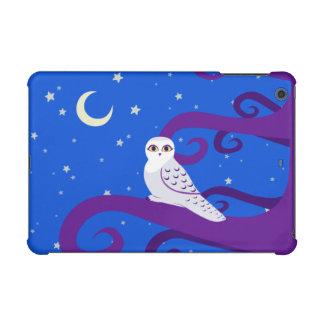 Snowy Owl Crescent Moon Night Forest Art iPad Mini Retina Covers