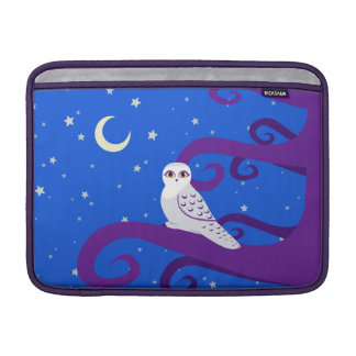 Snowy Owl Crescent Moon Night Forest Art MacBook Air Sleeve