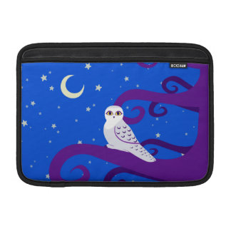 Snowy Owl Crescent Moon Night Forest Art Sleeve For MacBook Air