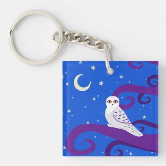 Snowy Owl Crescent Moon Night Forest Art Keychain