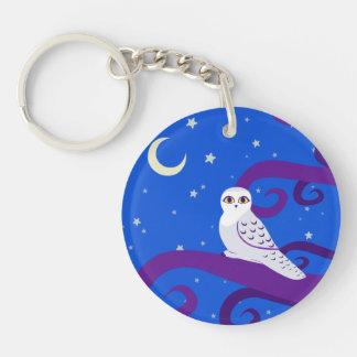 Snowy Owl Crescent Moon Night Forest Art Keychain