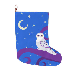 Snowy Owl Crescent Moon Night Forest Art Large Christmas Stocking