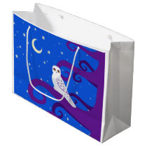 Snowy Owl Crescent Moon Night Forest Art Large Gift Bag