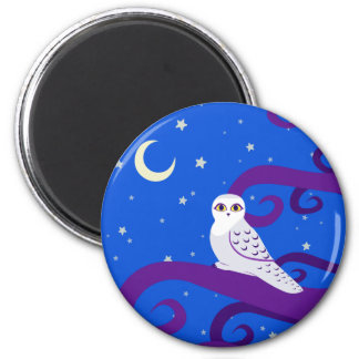 Snowy Owl Crescent Moon Night Forest Art Magnet