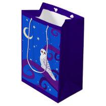 Snowy Owl Crescent Moon Night Forest Art Medium Gift Bag