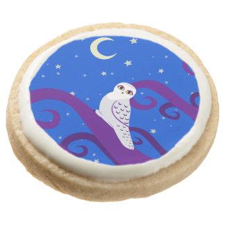 Snowy Owl Crescent Moon Night Forest Art Round Premium Shortbread Cookie