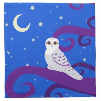 Snowy Owl Crescent Moon Night Forest Art Napkin