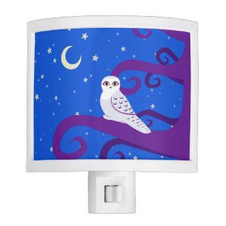 Snowy Owl Crescent Moon Night Forest Art Night Light
