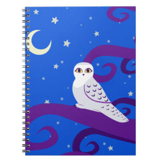 Snowy Owl Crescent Moon Night Forest Art Spiral Note Book