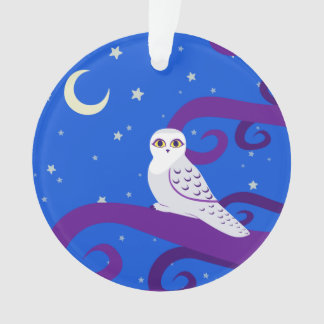 Snowy Owl Crescent Moon Night Forest Art Ornament