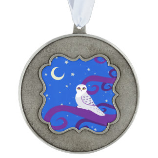 Snowy Owl Crescent Moon Night Forest Art Pewter Ornament